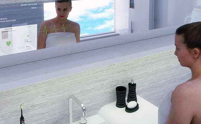 Smart mirror with health sensor