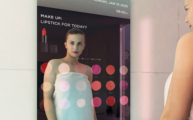 Smart mirror with makeup projections
