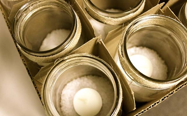 Reusing candle jars - with tea lights