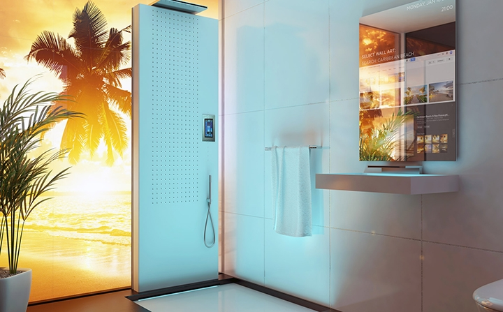 Customised wall art and touch screen shower