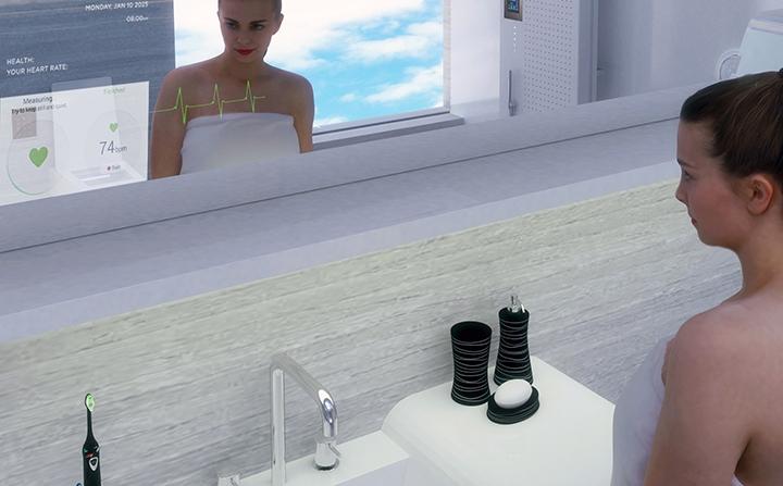 Smart mirror with health sensors