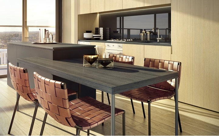West Village: Dining room table integrated with the kitchen bench