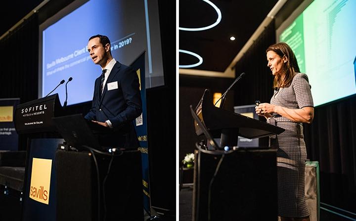 Savills Nick Peden and REA's Nerida Conisbee speaking at the event